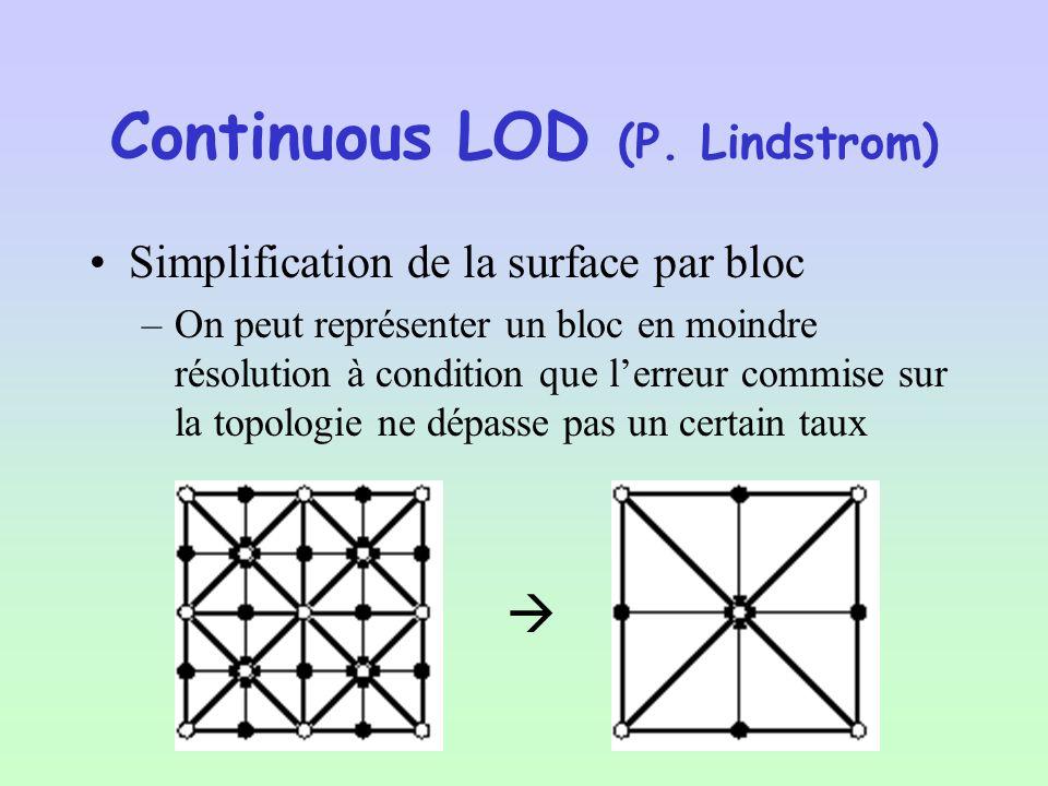 –Chaque « Chunck » possède une boîte englobante et une erreur géométrique maximum –Cette erreur est la même pour chaque niveaux de larbre –Grâce à cela nous pouvons appliquer un algorithme basique de LOD –Quand on constate que lerreur produite par le LOD nest plus acceptable par rapport à la distance au point de vue, on change de niveau dans larbre La Dépendance Au Point De Vue