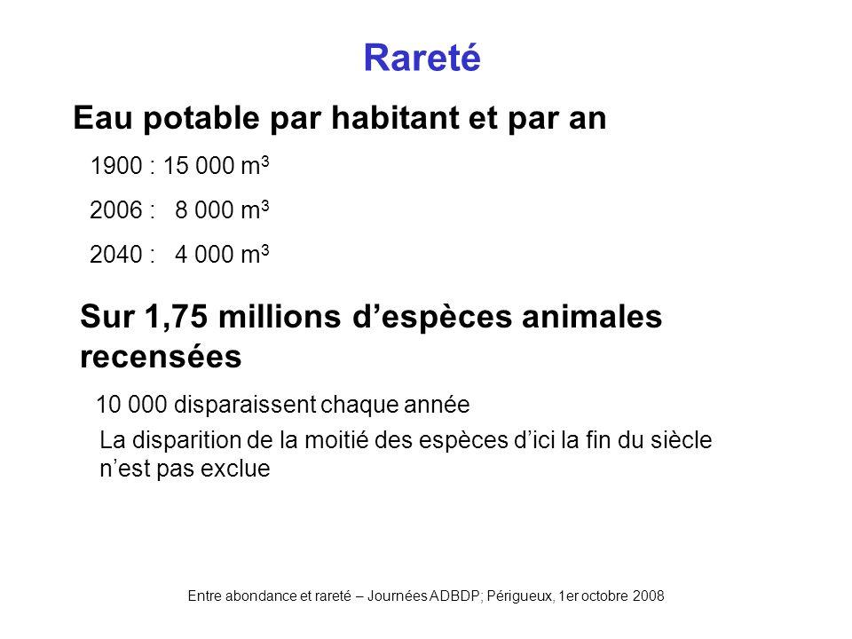 Entre abondance et rareté – Journées ADBDP; Périgueux, 1er octobre 2008 Rareté Eau potable par habitant et par an 1900 : 15 000 m 3 2006 : 8 000 m 3 2