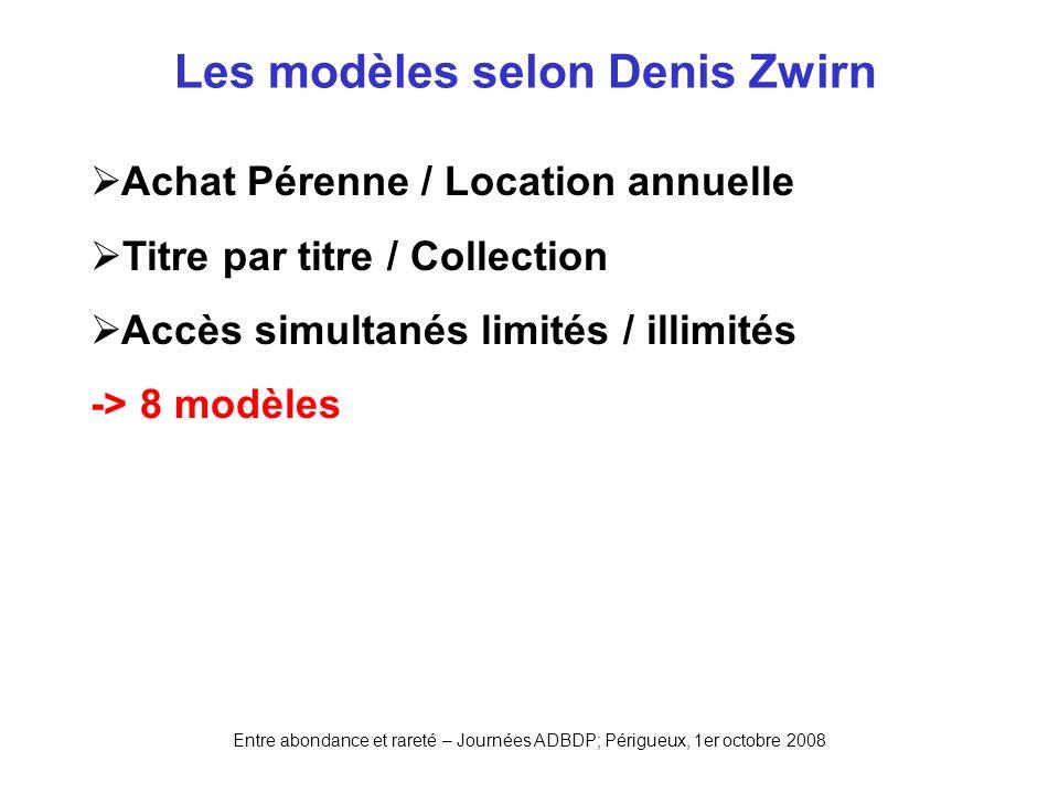 Entre abondance et rareté – Journées ADBDP; Périgueux, 1er octobre 2008 Les modèles selon Denis Zwirn Achat Pérenne / Location annuelle Titre par titr