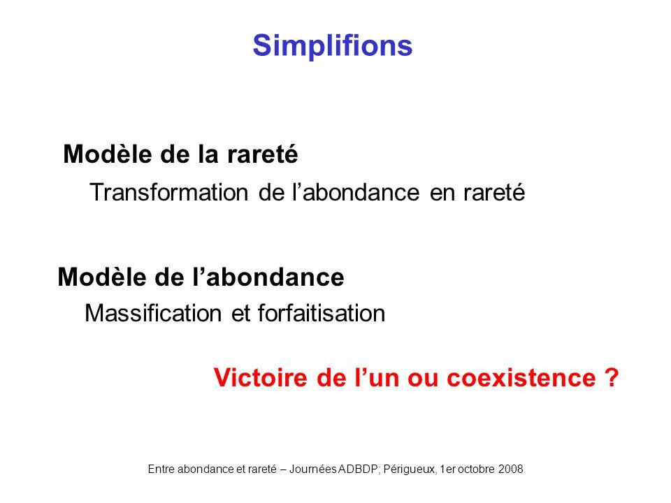 Entre abondance et rareté – Journées ADBDP; Périgueux, 1er octobre 2008 Simplifions Modèle de la rareté Transformation de labondance en rareté Victoir