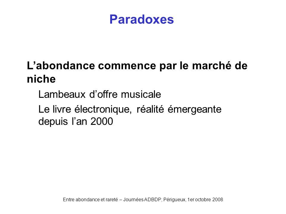Entre abondance et rareté – Journées ADBDP; Périgueux, 1er octobre 2008 Paradoxes Labondance commence par le marché de niche Lambeaux doffre musicale