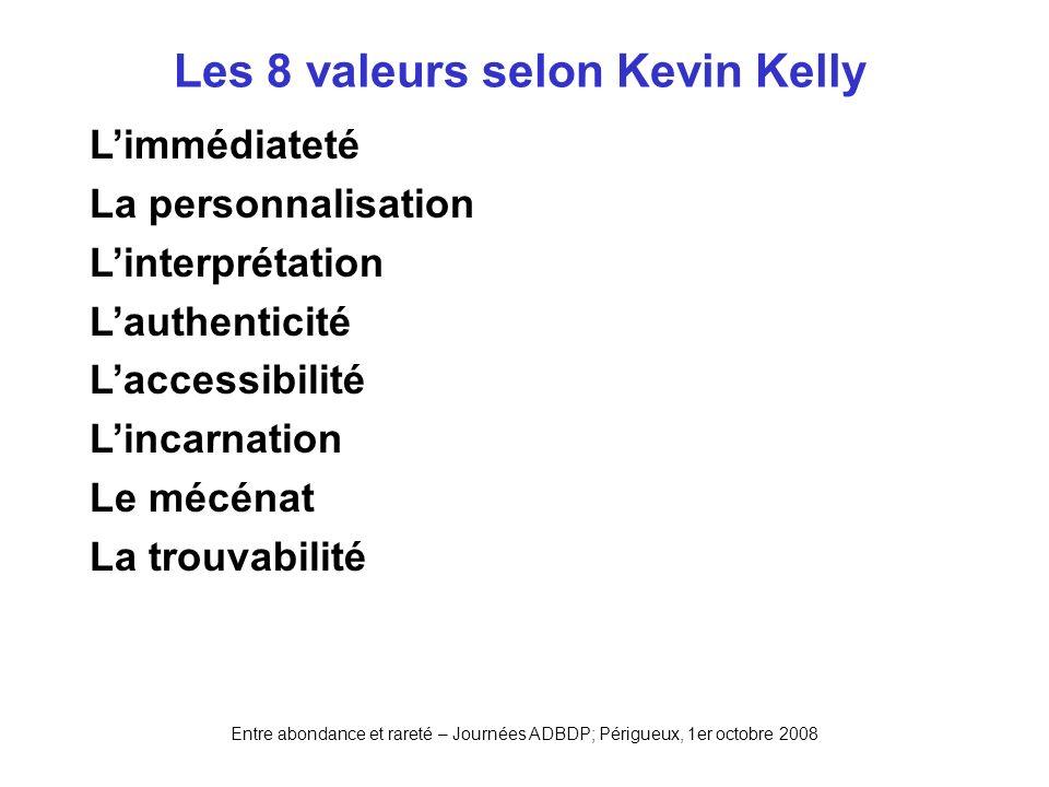 Entre abondance et rareté – Journées ADBDP; Périgueux, 1er octobre 2008 Les 8 valeurs selon Kevin Kelly Limmédiateté La personnalisation Linterprétati