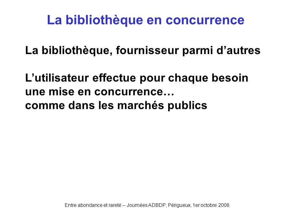 Entre abondance et rareté – Journées ADBDP; Périgueux, 1er octobre 2008 La bibliothèque en concurrence La bibliothèque, fournisseur parmi dautres Luti