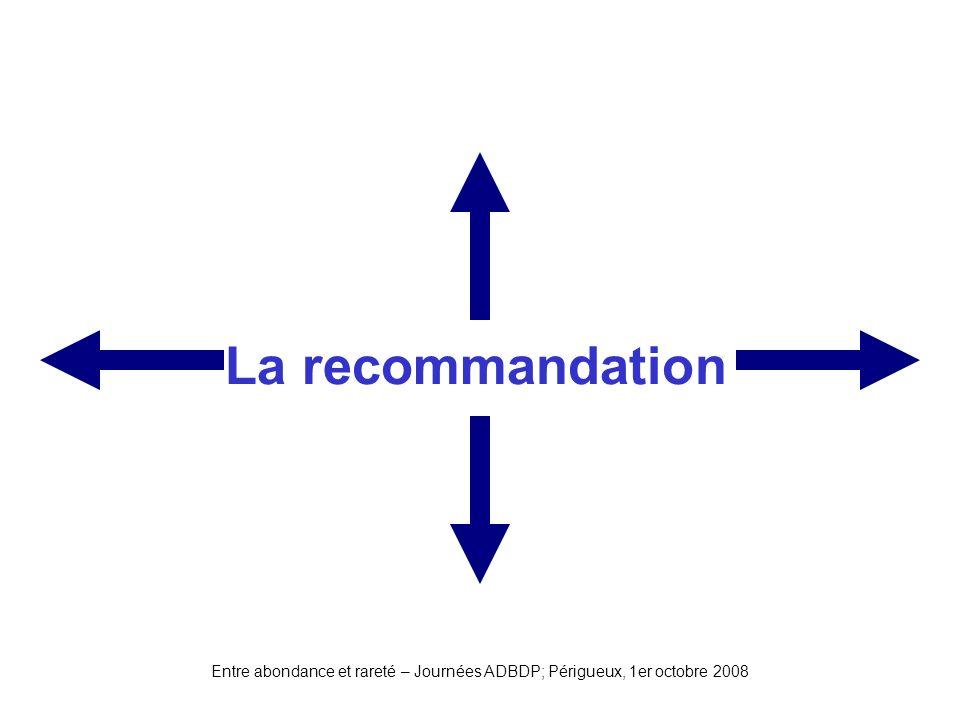 Entre abondance et rareté – Journées ADBDP; Périgueux, 1er octobre 2008 La recommandation