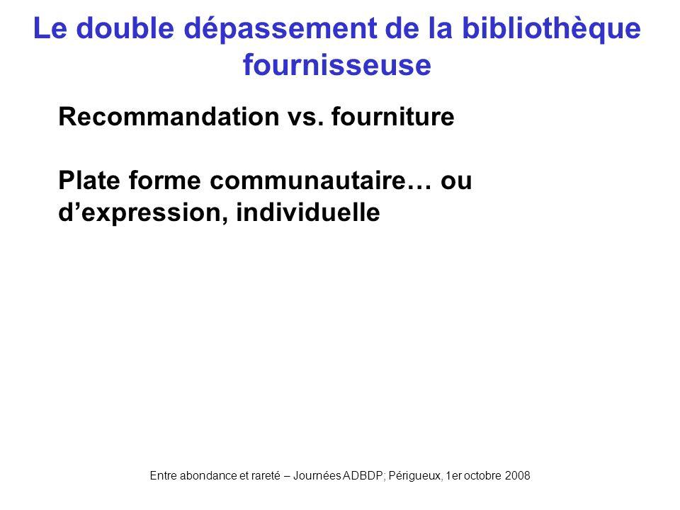 Entre abondance et rareté – Journées ADBDP; Périgueux, 1er octobre 2008 Le double dépassement de la bibliothèque fournisseuse Recommandation vs. fourn