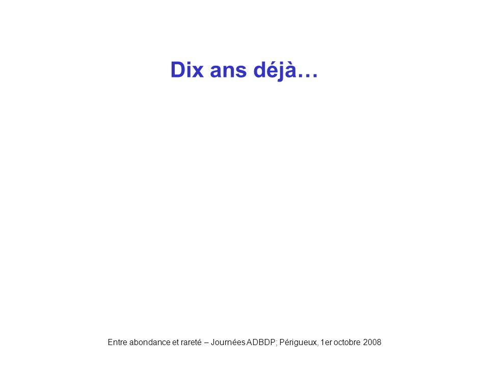 Entre abondance et rareté – Journées ADBDP; Périgueux, 1er octobre 2008 Dix ans déjà…