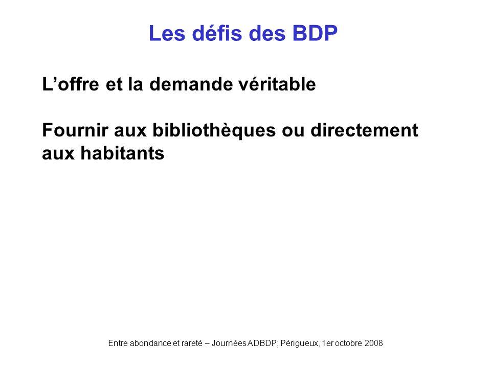 Entre abondance et rareté – Journées ADBDP; Périgueux, 1er octobre 2008 Les défis des BDP Loffre et la demande véritable Fournir aux bibliothèques ou