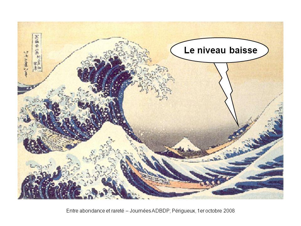 Entre abondance et rareté – Journées ADBDP; Périgueux, 1er octobre 2008 Vague2 Le niveau baisse