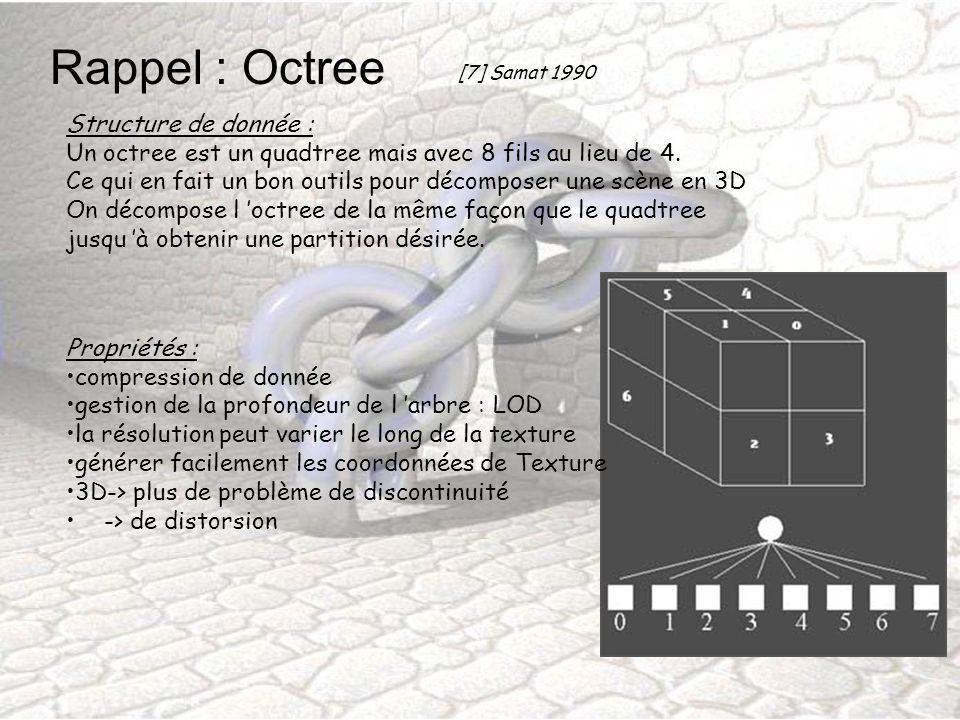 Rappel : Octree Structure de donnée : Un octree est un quadtree mais avec 8 fils au lieu de 4. Ce qui en fait un bon outils pour décomposer une scène