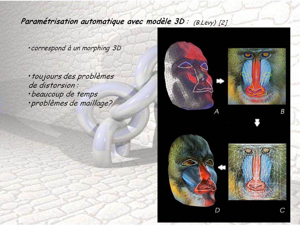 Paramétrisation automatique avec modèle 3D : (B.Levy) [2] correspond à un morphing 3D toujours des problèmes de distorsion : beaucoup de temps problèm