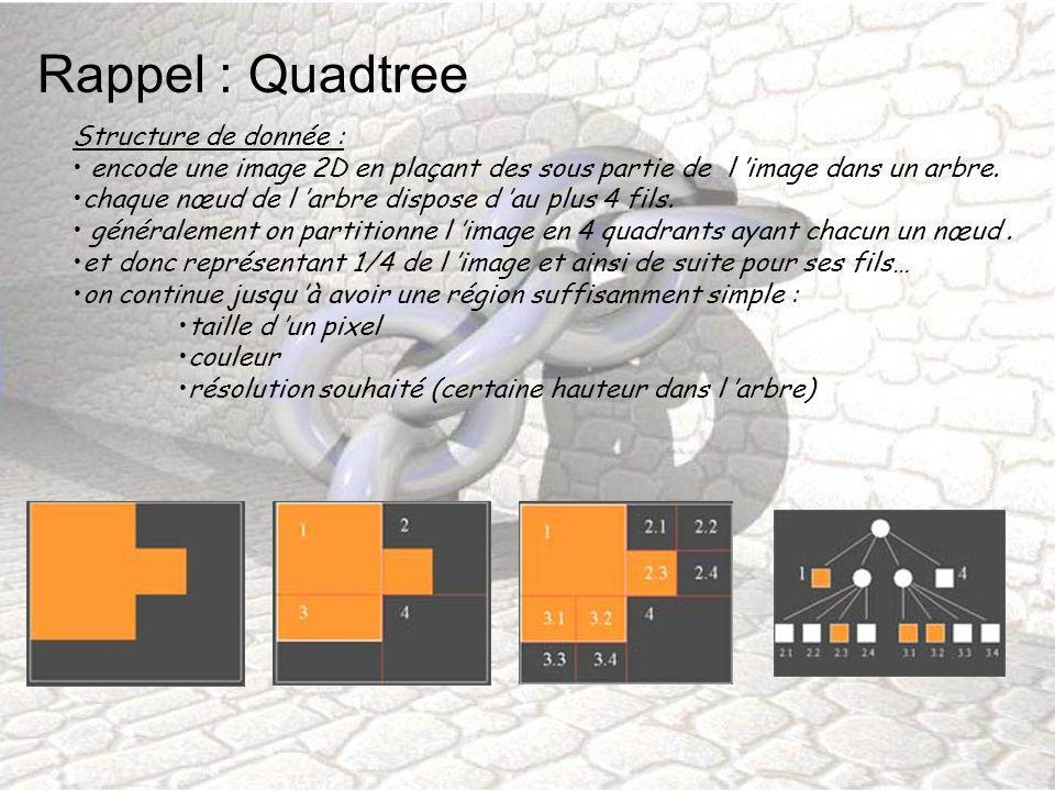 Rappel : Quadtree Structure de donnée : encode une image 2D en plaçant des sous partie de l image dans un arbre. chaque nœud de l arbre dispose d au p