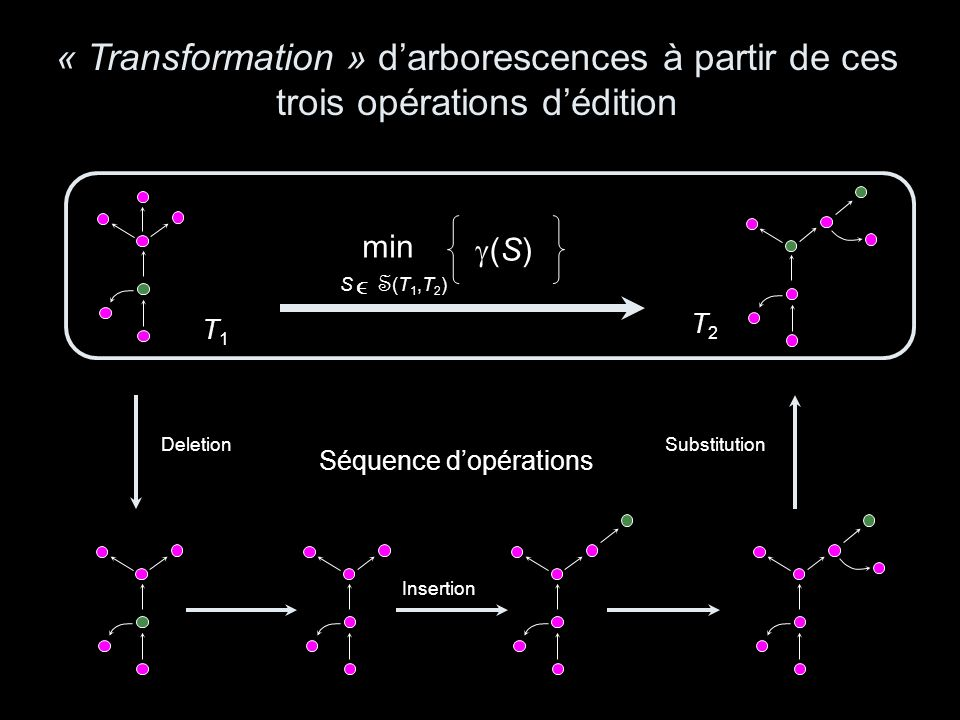 « Transformation » darborescences à partir de ces trois opérations dédition T1T1 T2T2 Deletion Substitution Insertion (S) min S S (T 1,T 2 ) Séquence dopérations