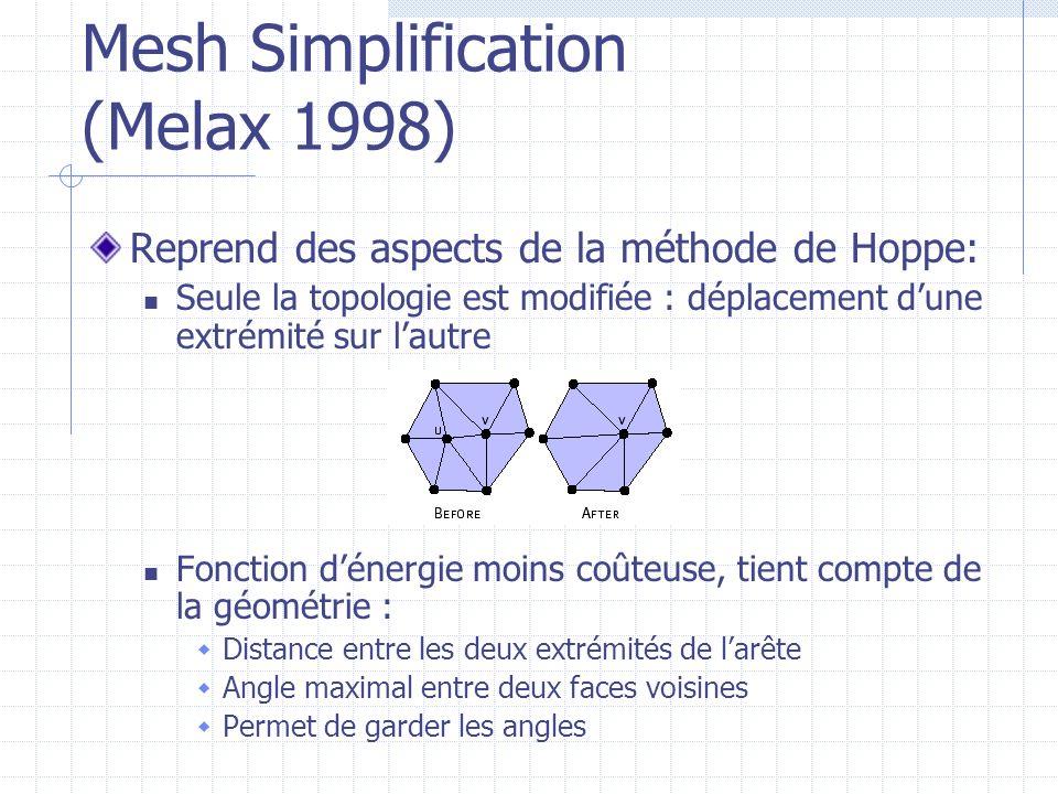 Mesh Simplification (Melax 1998) Reprend des aspects de la méthode de Hoppe: Seule la topologie est modifiée : déplacement dune extrémité sur lautre F