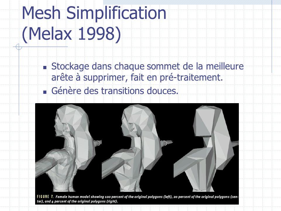Mesh Simplification (Melax 1998) Stockage dans chaque sommet de la meilleure arête à supprimer, fait en pré-traitement. Génère des transitions douces.