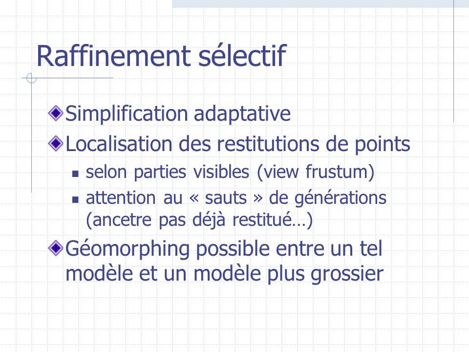 Raffinement sélectif Simplification adaptative Localisation des restitutions de points selon parties visibles (view frustum) attention au « sauts » de