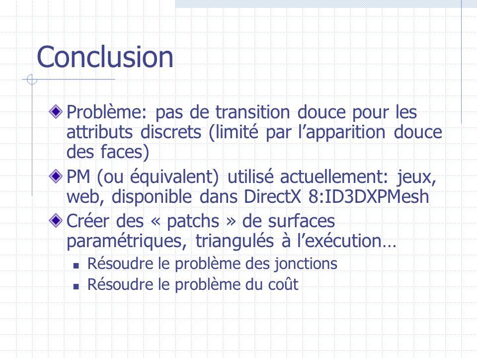 Conclusion Problème: pas de transition douce pour les attributs discrets (limité par lapparition douce des faces) PM (ou équivalent) utilisé actuellem