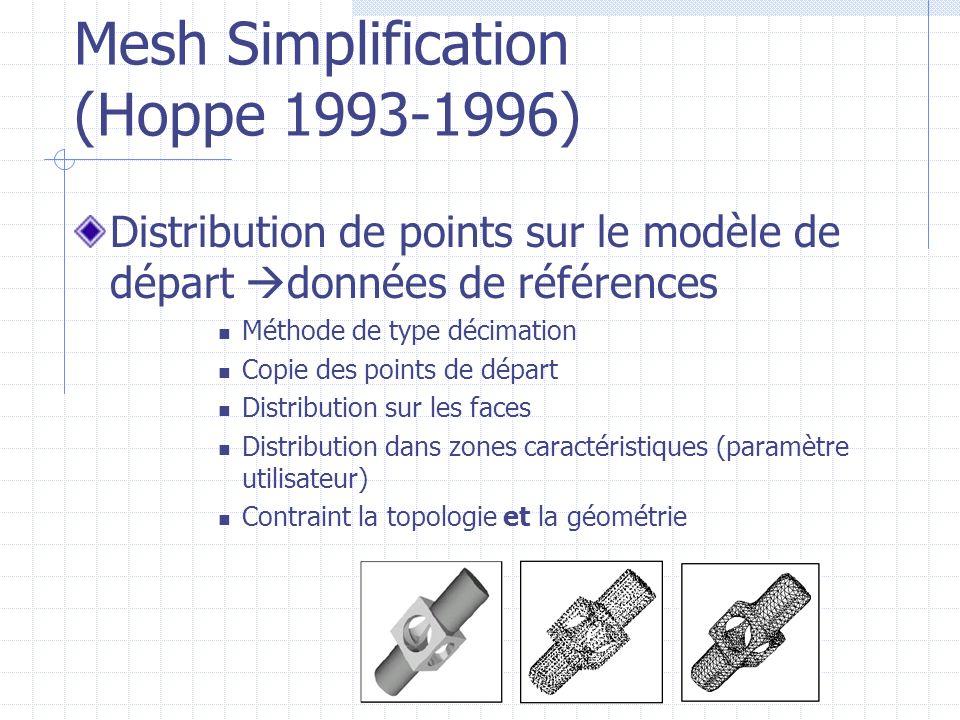 Mesh Simplification (Hoppe 1993-1996) Distribution de points sur le modèle de départ données de références Méthode de type décimation Copie des points