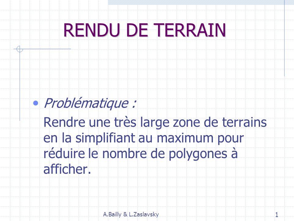 RENDU DE TERRAIN Problématique : Rendre une très large zone de terrains en la simplifiant au maximum pour réduire le nombre de polygones à afficher.