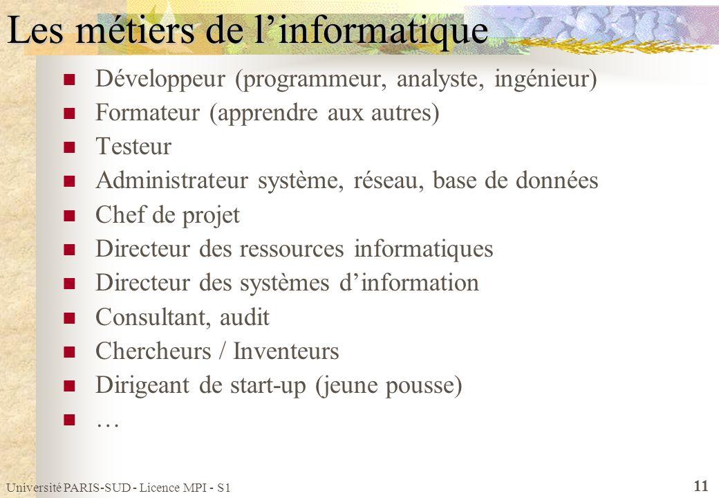 Université PARIS-SUD - Licence MPI - S1 11 Les métiers de linformatique Développeur (programmeur, analyste, ingénieur) Formateur (apprendre aux autres