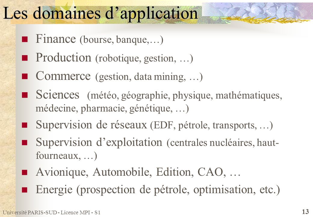 Université PARIS-SUD - Licence MPI - S1 13 Les domaines dapplication Finance (bourse, banque,…) Production (robotique, gestion, …) Commerce (gestion,