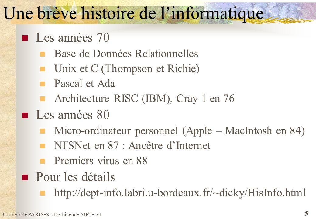 Université PARIS-SUD - Licence MPI - S1 5 Une brève histoire de linformatique Les années 70 Base de Données Relationnelles Unix et C (Thompson et Rich