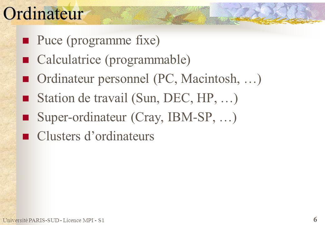 Université PARIS-SUD - Licence MPI - S1 6Ordinateur Puce (programme fixe) Calculatrice (programmable) Ordinateur personnel (PC, Macintosh, …) Station