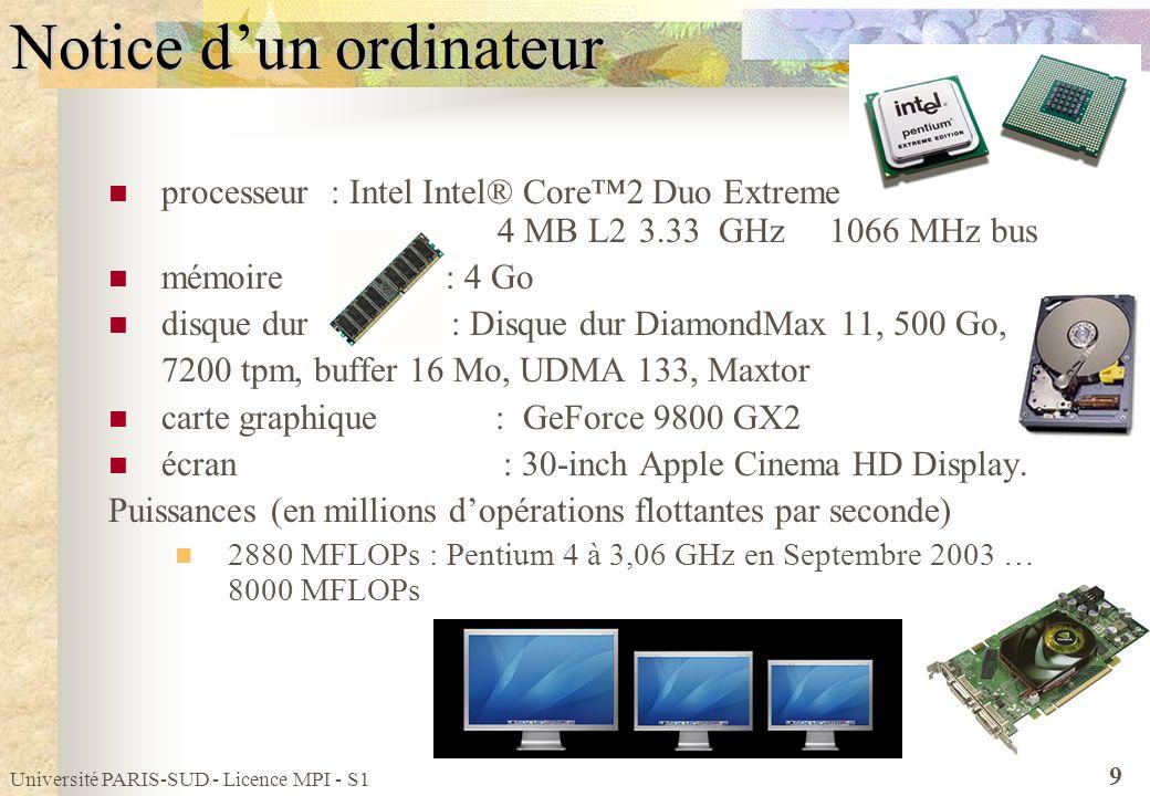 Université PARIS-SUD - Licence MPI - S1 9 Notice dun ordinateur processeur : Intel Intel® Core2 Duo Extreme 4 MB L23.33 GHz 1066 MHz bus mémoire : 4 G