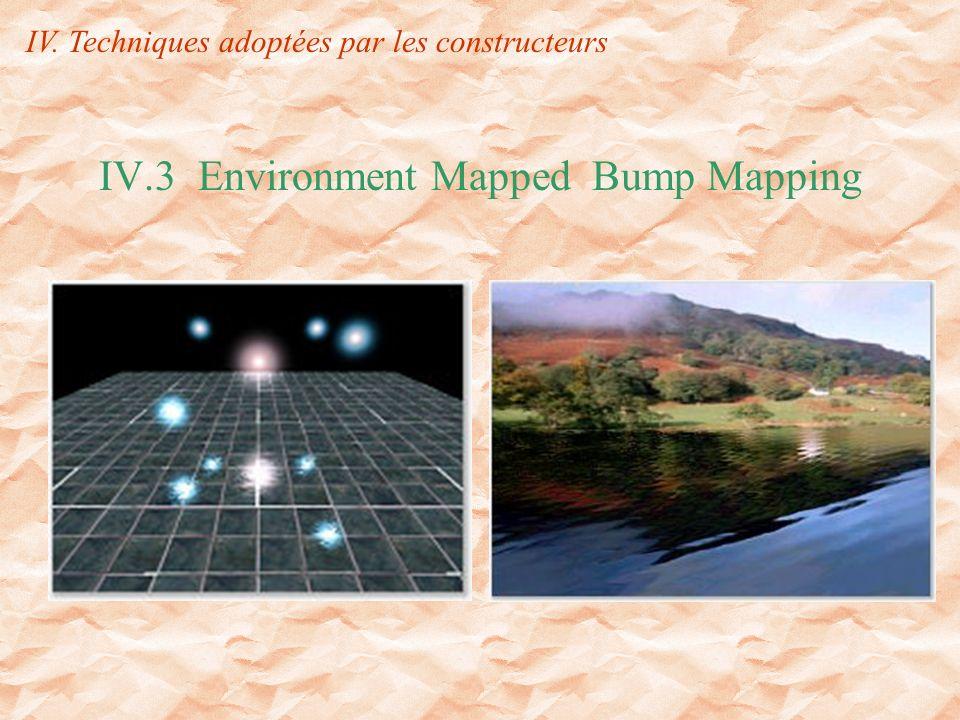 IV.3 Environment Mapped Bump Mapping IV. Techniques adoptées par les constructeurs