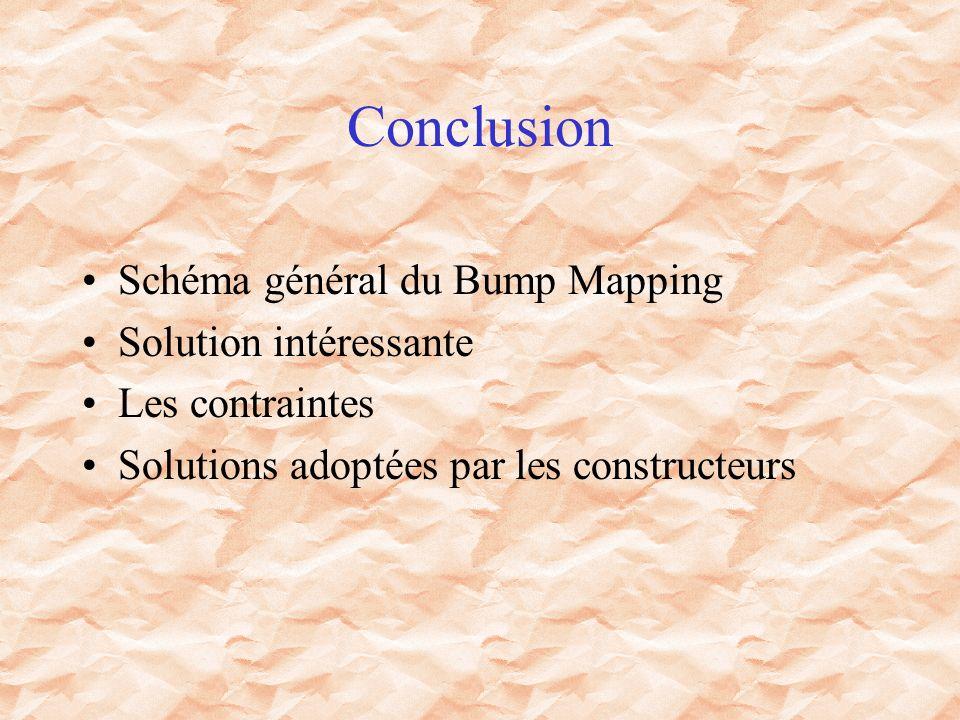 Conclusion Schéma général du Bump Mapping Solution intéressante Les contraintes Solutions adoptées par les constructeurs