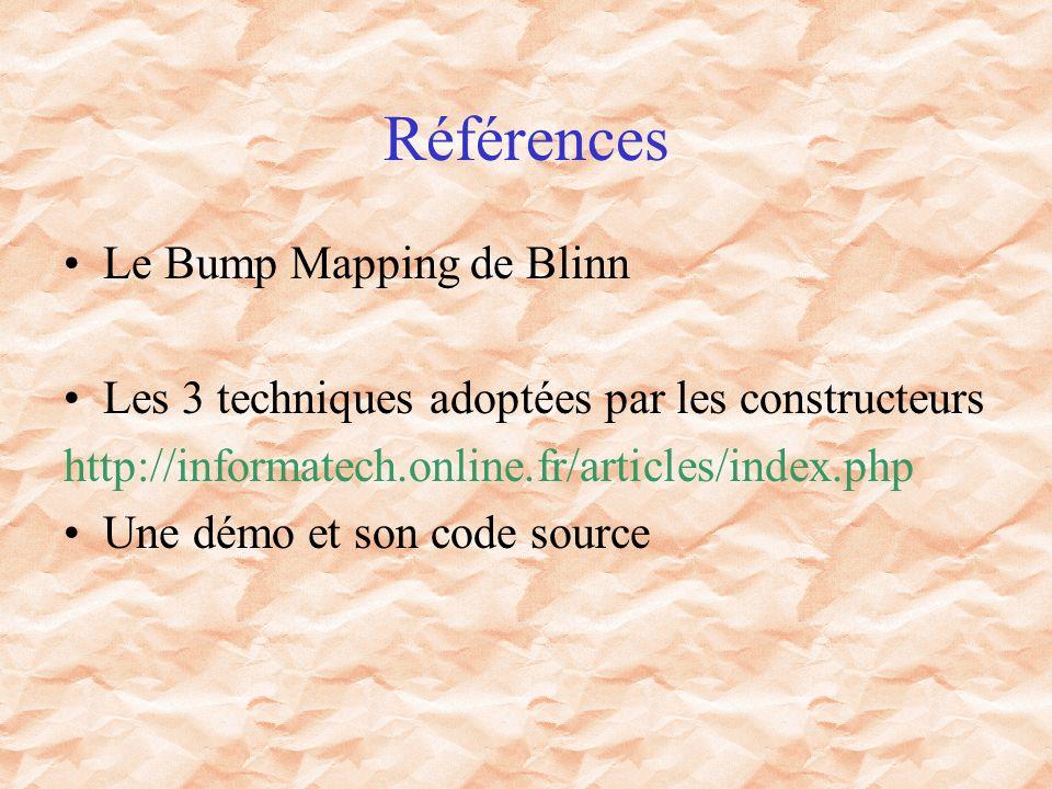 Références Le Bump Mapping de Blinn Les 3 techniques adoptées par les constructeurs http://informatech.online.fr/articles/index.php Une démo et son code source