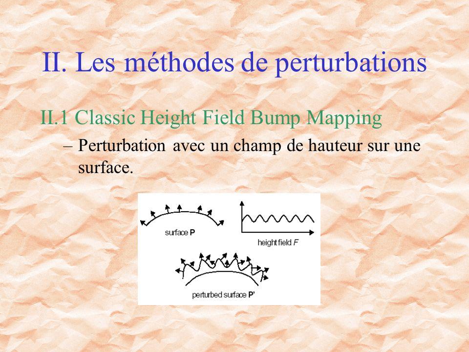 II. Les méthodes de perturbations II.1 Classic Height Field Bump Mapping –Perturbation avec un champ de hauteur sur une surface.