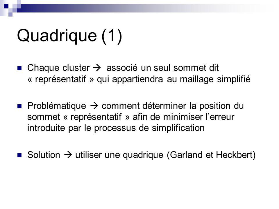 Quadrique (1) Chaque cluster associé un seul sommet dit « représentatif » qui appartiendra au maillage simplifié Problématique comment déterminer la position du sommet « représentatif » afin de minimiser lerreur introduite par le processus de simplification Solution utiliser une quadrique (Garland et Heckbert)