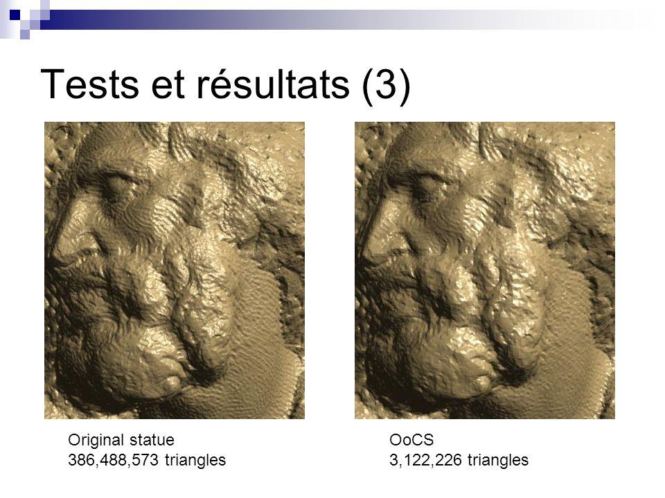 Tests et résultats (3) Original statue 386,488,573 triangles OoCS 3,122,226 triangles