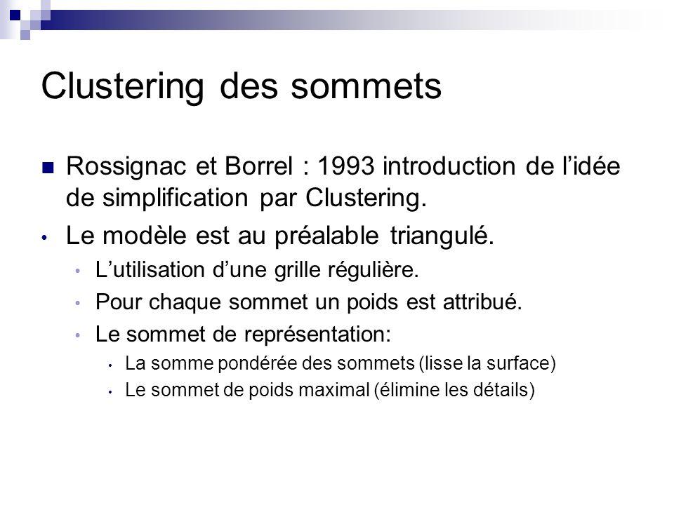 Clustering des sommets Rossignac et Borrel : 1993 introduction de lidée de simplification par Clustering. Le modèle est au préalable triangulé. Lutili