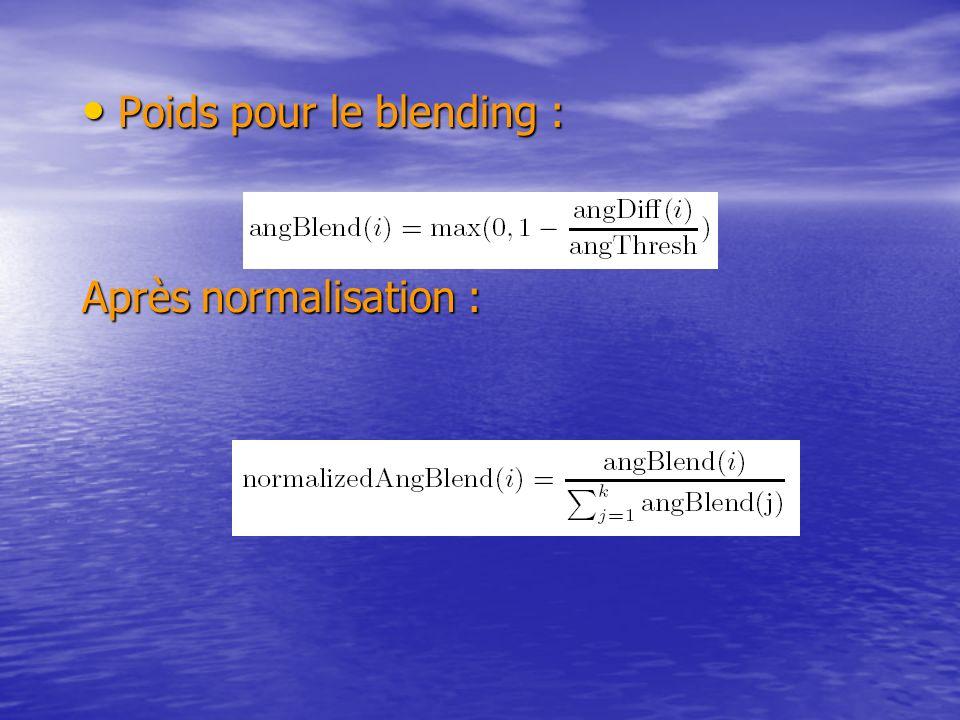 Poids pour le blending : Poids pour le blending : Après normalisation :