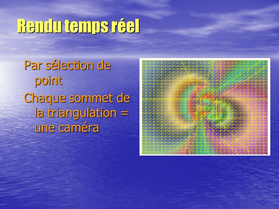 Rendu temps réel Par sélection de point Chaque sommet de la triangulation = une caméra