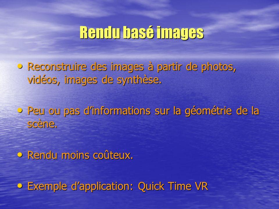 Reconstruire des images à partir de photos, vidéos, images de synthèse. Reconstruire des images à partir de photos, vidéos, images de synthèse. Peu ou