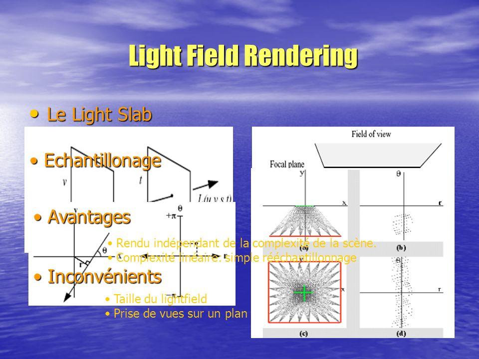 Light Field Rendering Le Light Slab Le Light Slab Echantillonage Echantillonage Avantages Avantages Inconvénients Inconvénients Rendu indépendant de l