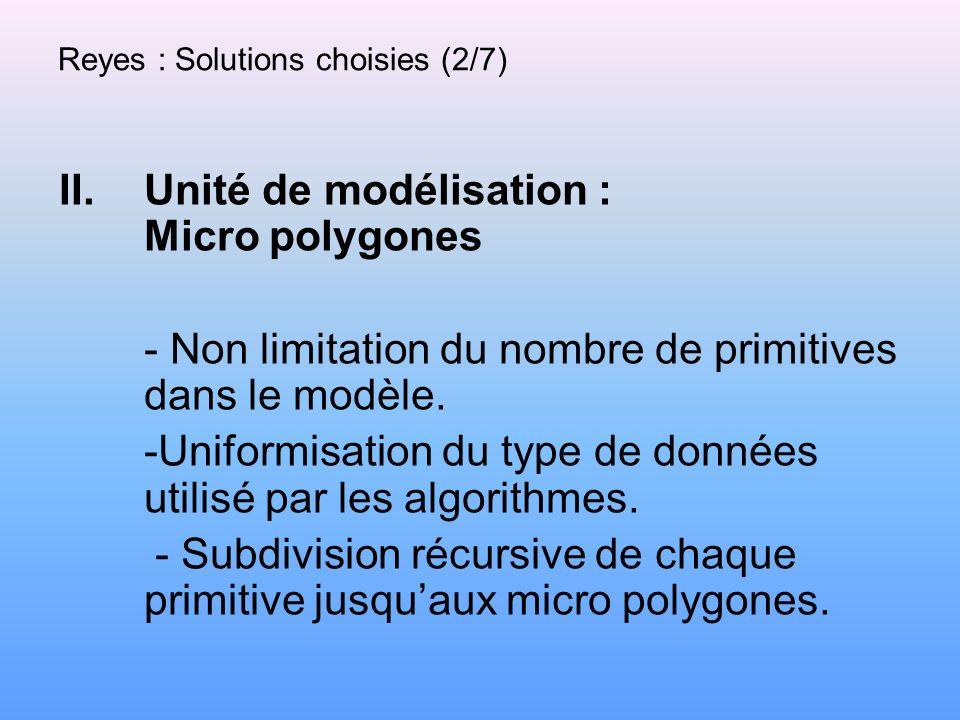 Reyes : Solutions choisies (2/7) II.Unité de modélisation : Micro polygones - Non limitation du nombre de primitives dans le modèle. -Uniformisation d