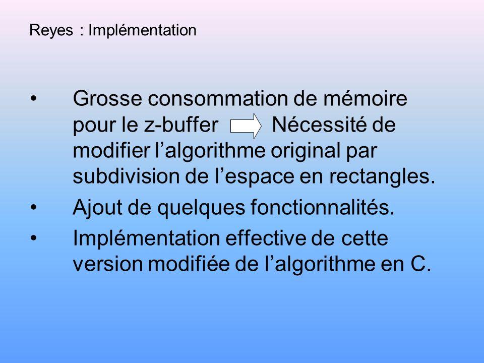 Reyes : Implémentation Grosse consommation de mémoire pour le z-buffer Nécessité de modifier lalgorithme original par subdivision de lespace en rectan