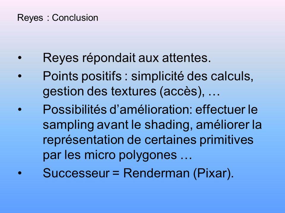 Reyes : Conclusion Reyes répondait aux attentes. Points positifs : simplicité des calculs, gestion des textures (accès), … Possibilités damélioration: