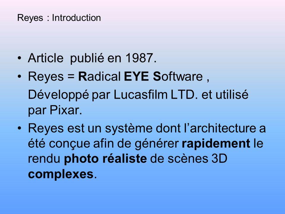 Reyes : Introduction Article publié en 1987. Reyes = Radical EYE Software, Développé par Lucasfilm LTD. et utilisé par Pixar. Reyes est un système don
