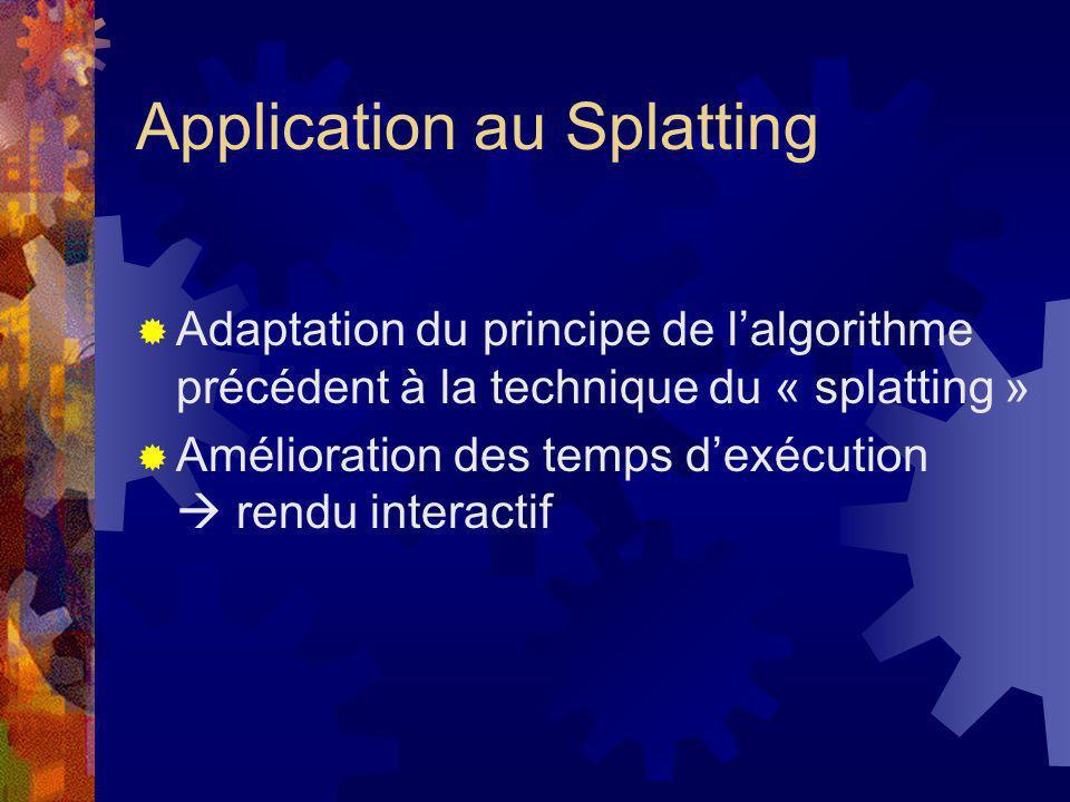 Application au Splatting Adaptation du principe de lalgorithme précédent à la technique du « splatting » Amélioration des temps dexécution rendu inter