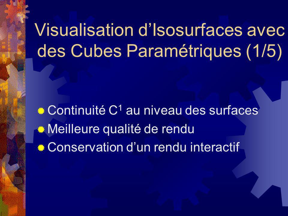 Visualisation dIsosurfaces avec des Cubes Paramétriques (1/5) Continuité C 1 au niveau des surfaces Meilleure qualité de rendu Conservation dun rendu