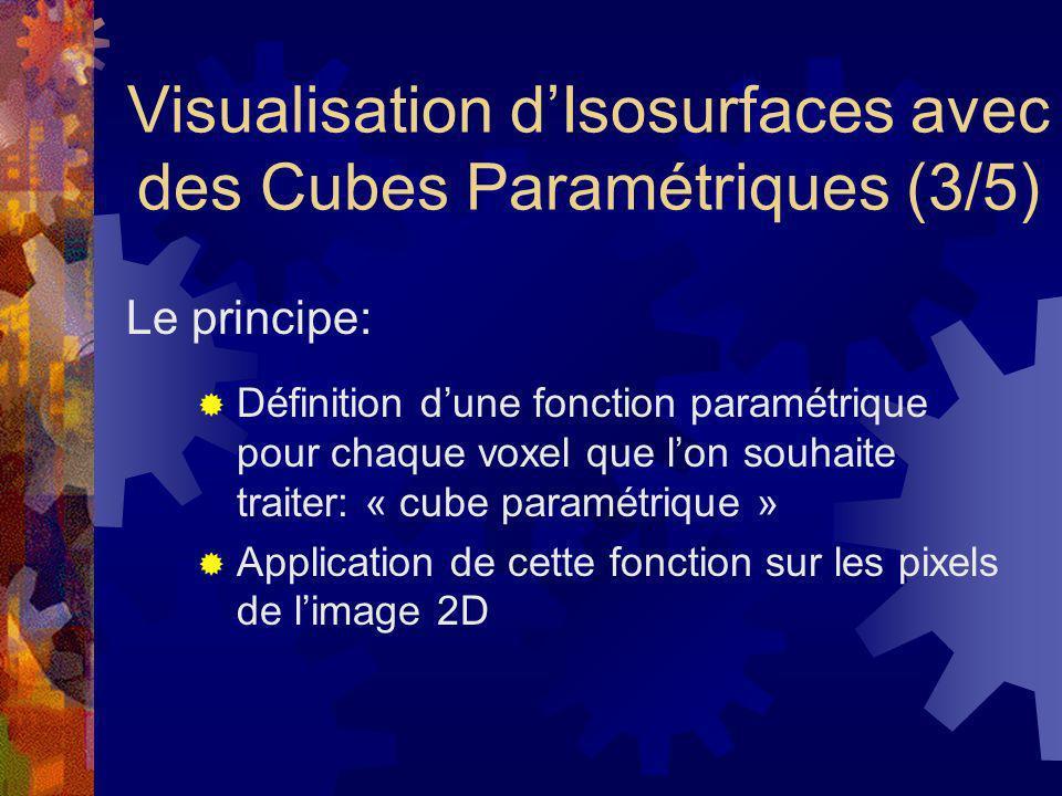 Visualisation dIsosurfaces avec des Cubes Paramétriques (3/5) Définition dune fonction paramétrique pour chaque voxel que lon souhaite traiter: « cube