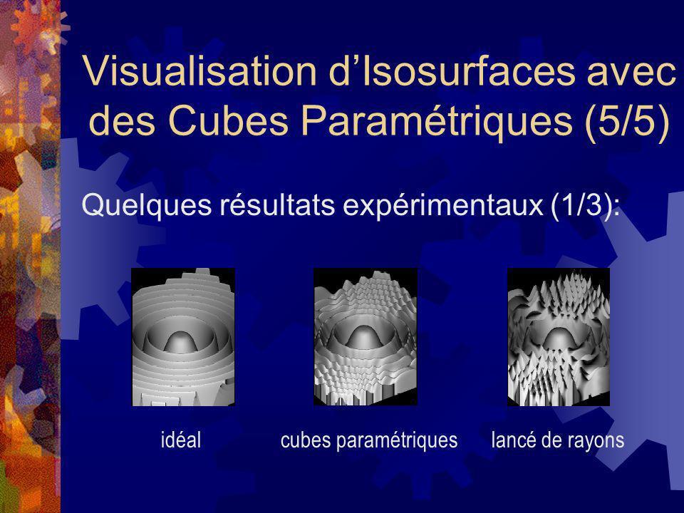 Visualisation dIsosurfaces avec des Cubes Paramétriques (5/5) Quelques résultats expérimentaux (1/3): idéalcubes paramétriqueslancé de rayons