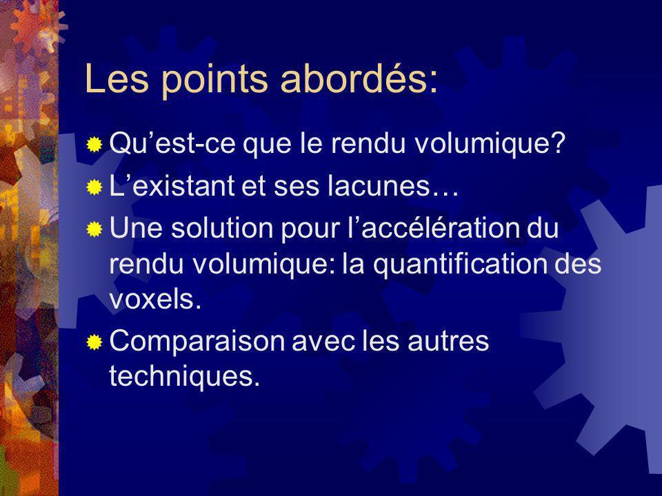 Les points abordés: Quest-ce que le rendu volumique? Lexistant et ses lacunes… Une solution pour laccélération du rendu volumique: la quantification d