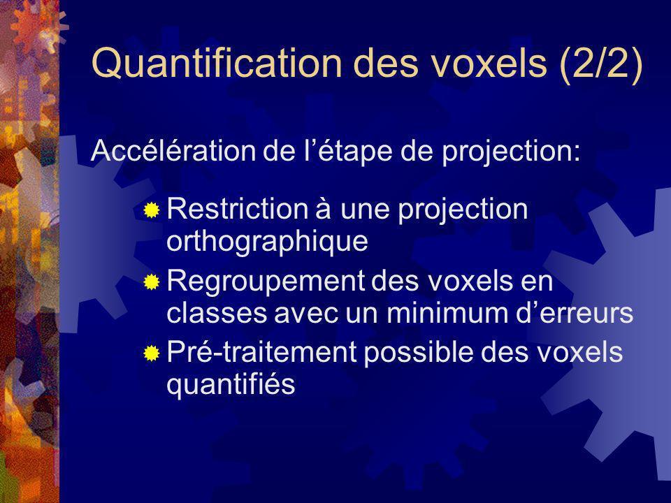 Quantification des voxels (2/2) Restriction à une projection orthographique Regroupement des voxels en classes avec un minimum derreurs Pré-traitement
