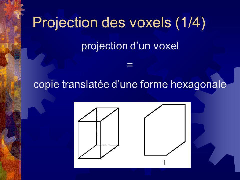 Projection des voxels (2/4) La projection du centre du voxel donne des informations sur les translations nécessaires Création dune liste de pixels Le centre C ne tombe pas forcément sur un pixel Mise en œuvre de lalgorithme (1/2):