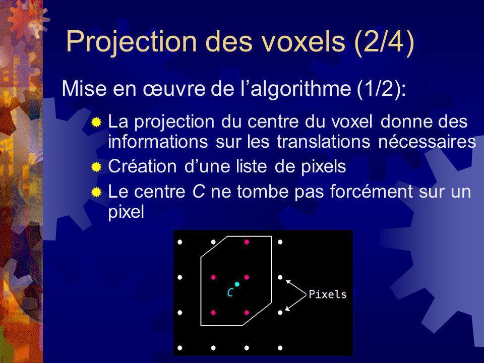 Projection des voxels (3/4) Pré-calcul dun tableau pour chaque case de la grille Pré-calcul de la projection des vecteurs unitaires de déplacement Mise en œuvre de lalgorithme (2/2):